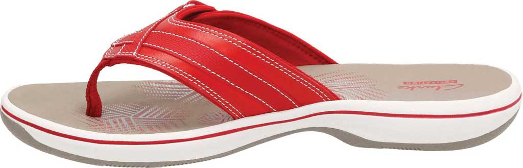 Women's Clarks Breeze Sea Flip Flop, Red Synthetic, large, image 3