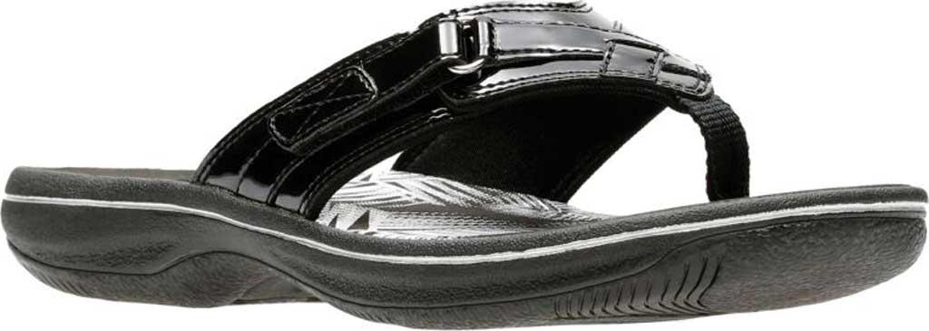 Women's Clarks Breeze Sea Flip Flop, Black Synthetic Patent, large, image 1