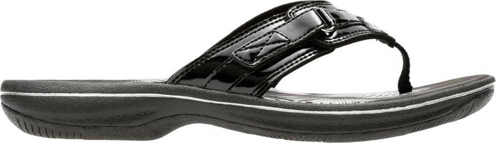 Women's Clarks Breeze Sea Flip Flop, Black Synthetic Patent, large, image 2
