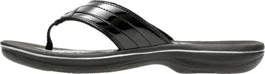 Women's Clarks Breeze Sea Flip Flop, Black Synthetic Patent, large, image 3