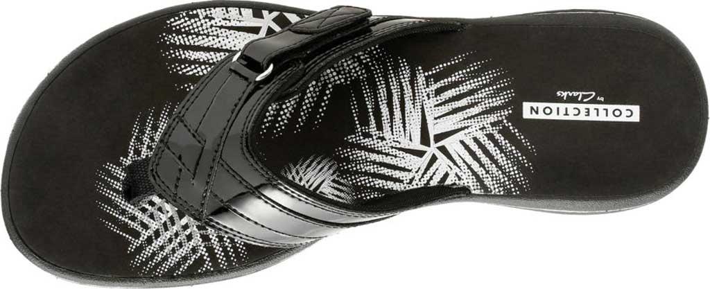 Women's Clarks Breeze Sea Flip Flop, Black Synthetic Patent, large, image 6