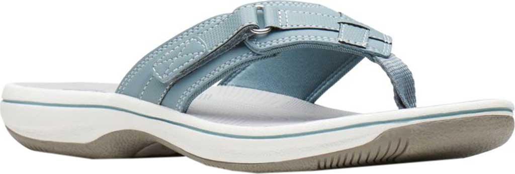 Women's Clarks Breeze Sea Flip Flop, Blue Grey Synthetic, large, image 1