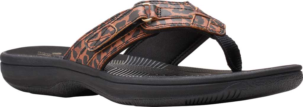 Women's Clarks Breeze Sea Flip Flop, Black/Tan Interest Synthetic, large, image 1