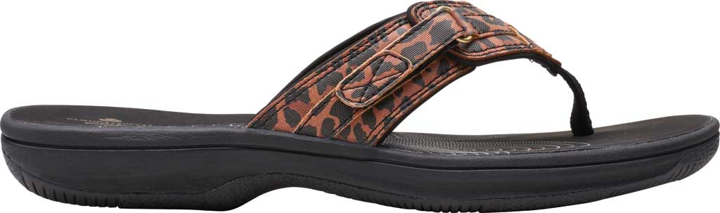 Women's Clarks Breeze Sea Flip Flop, Black/Tan Interest Synthetic, large, image 2