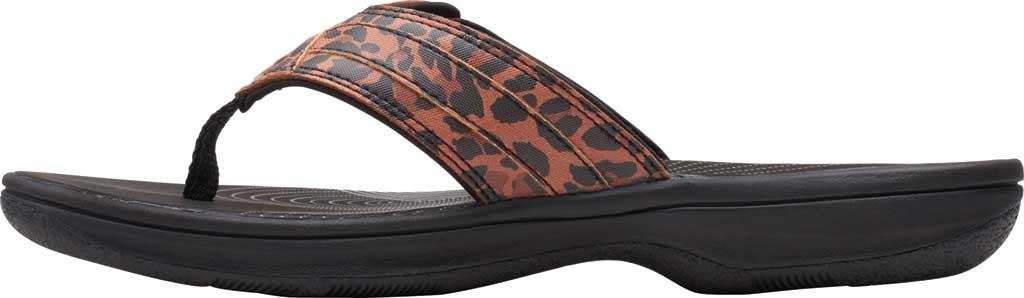 Women's Clarks Breeze Sea Flip Flop, Black/Tan Interest Synthetic, large, image 3