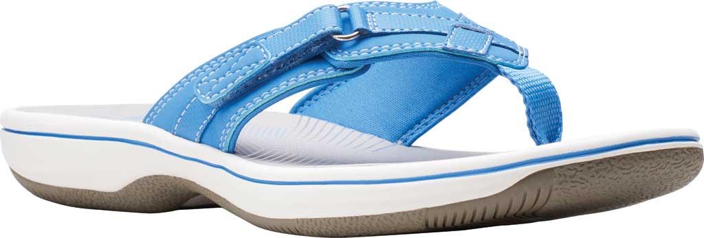Women's Clarks Breeze Sea Flip Flop, Blue Synthetic II, large, image 1