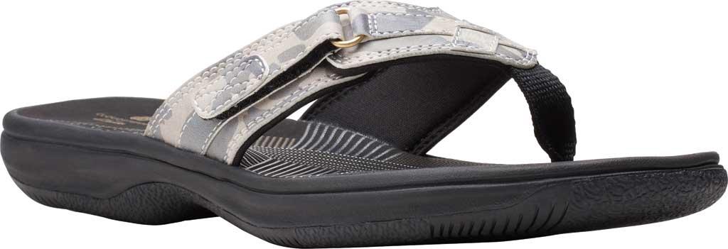Women's Clarks Breeze Sea Flip Flop, Khaki Camo Synthetic, large, image 1