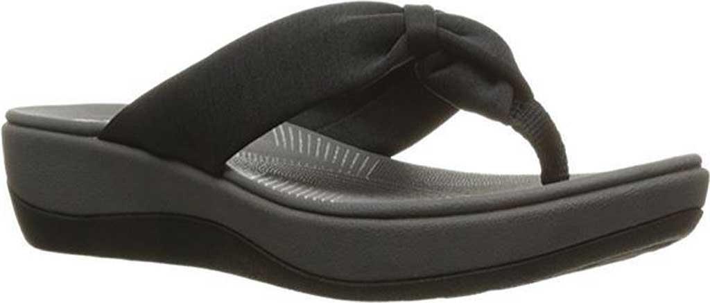 Women's Clarks Arla Glison Thong Sandal, Black Fabric, large, image 1