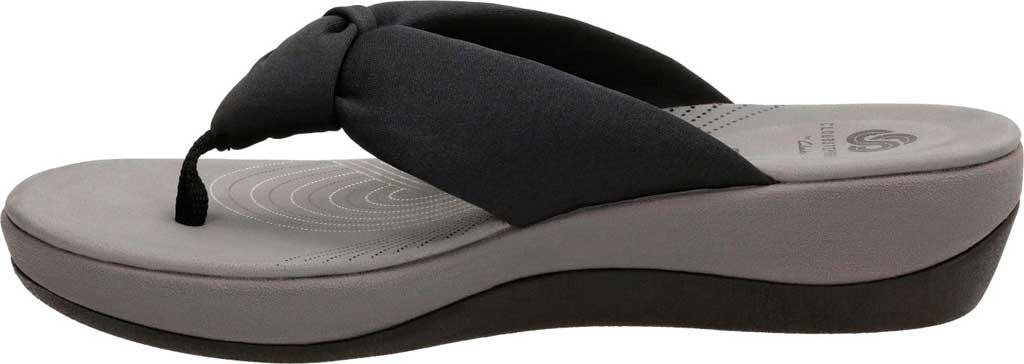 Women's Clarks Arla Glison Thong Sandal, Black Fabric, large, image 3