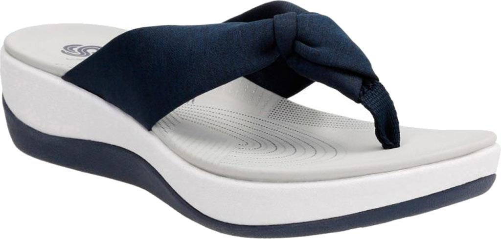 Women's Clarks Arla Glison Thong Sandal, Blue Heather Fabric, large, image 1