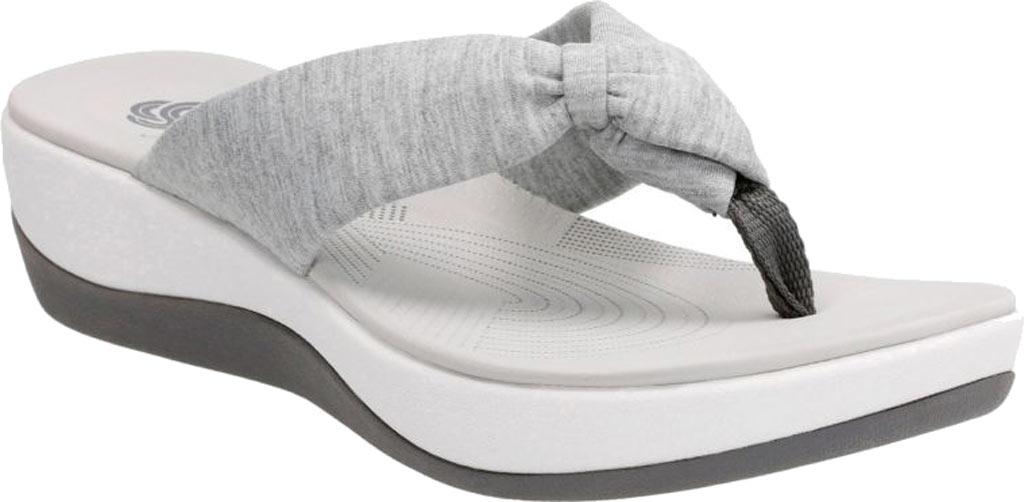 Women's Clarks Arla Glison Thong Sandal, Grey Heather Fabric, large, image 1