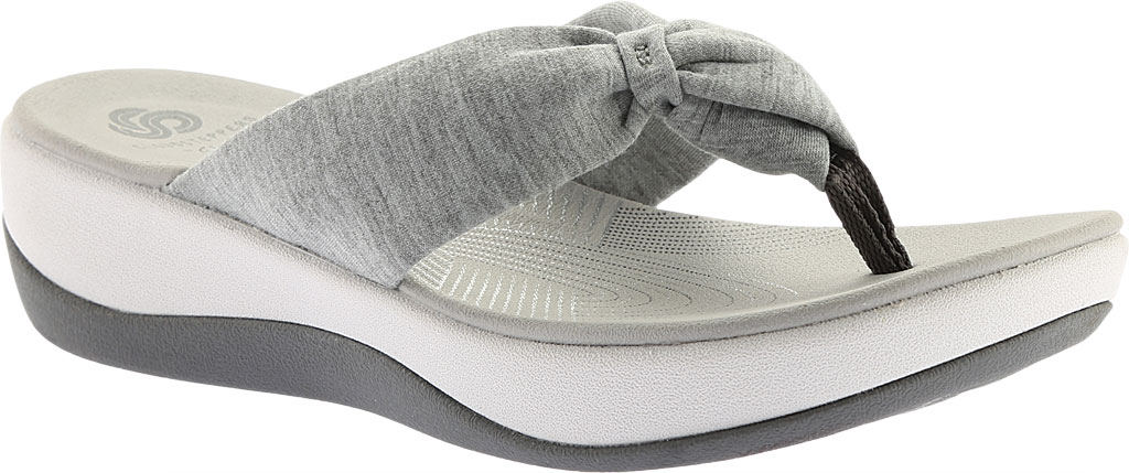 Women's Clarks Arla Glison Thong Sandal, Grey Heather Fabric II, large, image 1