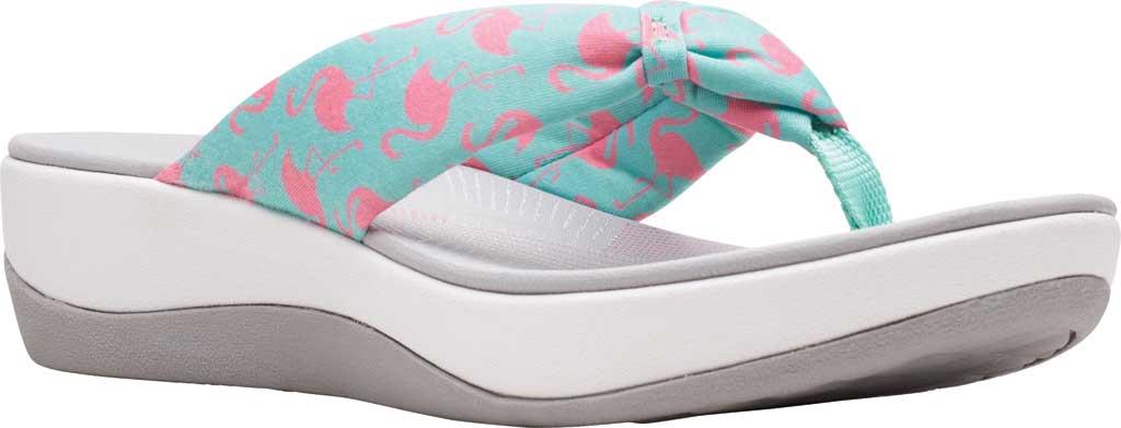 Women's Clarks Arla Glison Thong Sandal, Aqua/Pink Flamingoes Textile, large, image 1