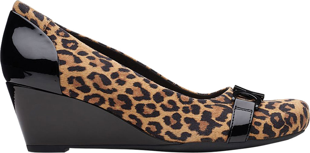 Women's Clarks Flores Poppy Wedge, Brown Leopard Suede, large, image 2