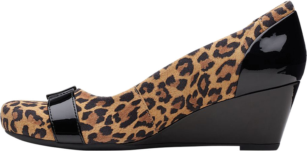 Women's Clarks Flores Poppy Wedge, Brown Leopard Suede, large, image 3