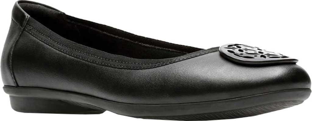 Women's Clarks Gracelin Lola Ballet Flat, Black Full Grain Leather/Synthetic Combo, large, image 1