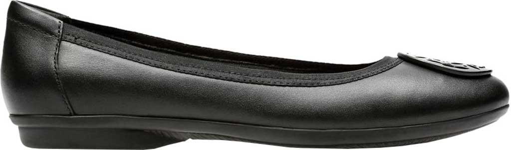Women's Clarks Gracelin Lola Ballet Flat, Black Full Grain Leather/Synthetic Combo, large, image 2
