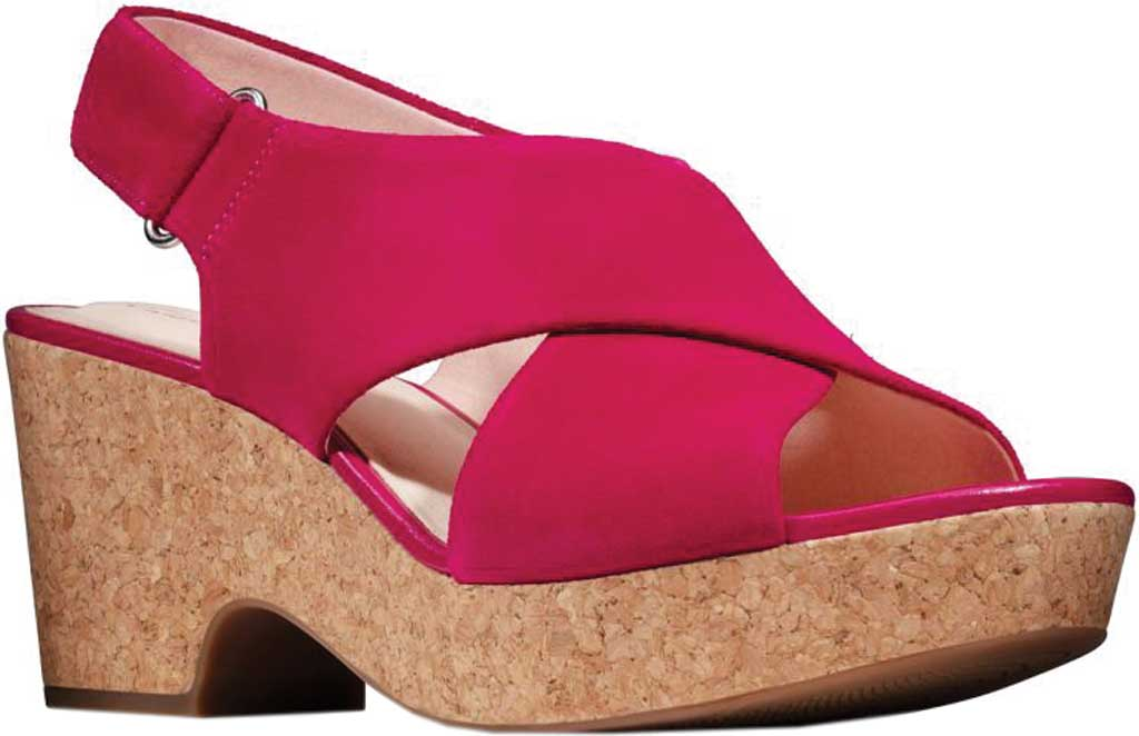 Women's Clarks Maritsa Lara Platform Sandal, Fuchsia Suede, large, image 1