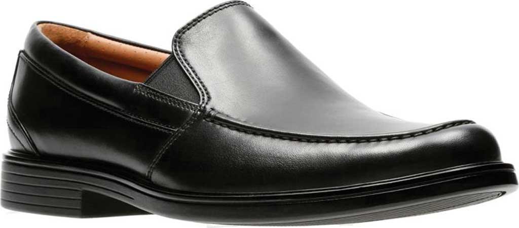 Men's Clarks Un Aldric Slip Moccasin, Black Full Grain Leather, large, image 1