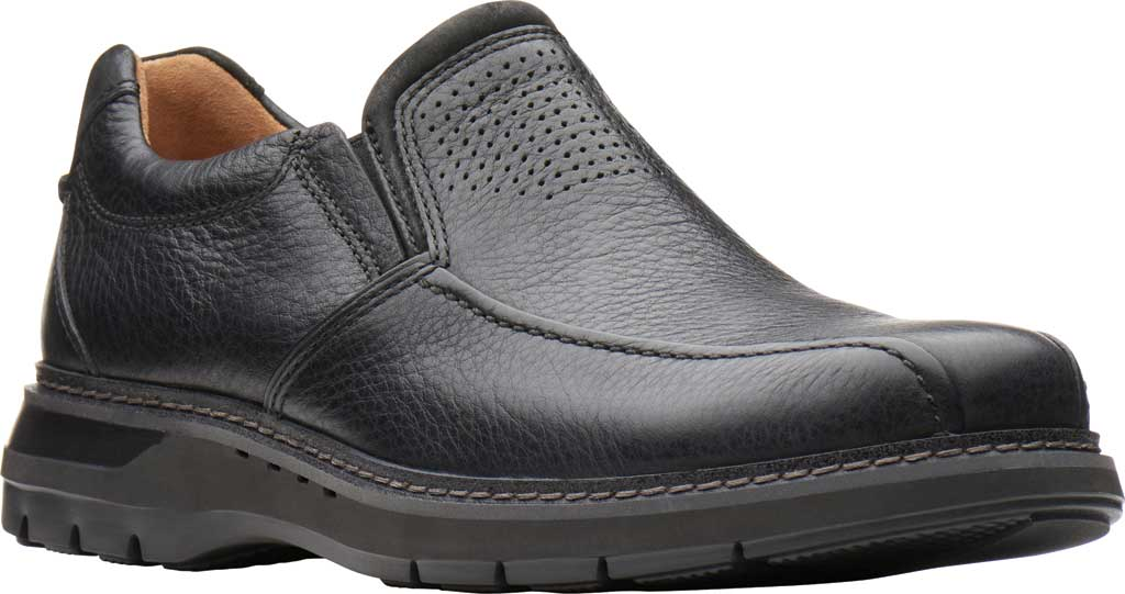 Men's Clarks Un Ramble Step Loafer, Black Tumbled Leather, large, image 1