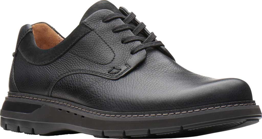 Men's Clarks Un Ramble Lo Oxford, Black Tumbled Leather, large, image 1