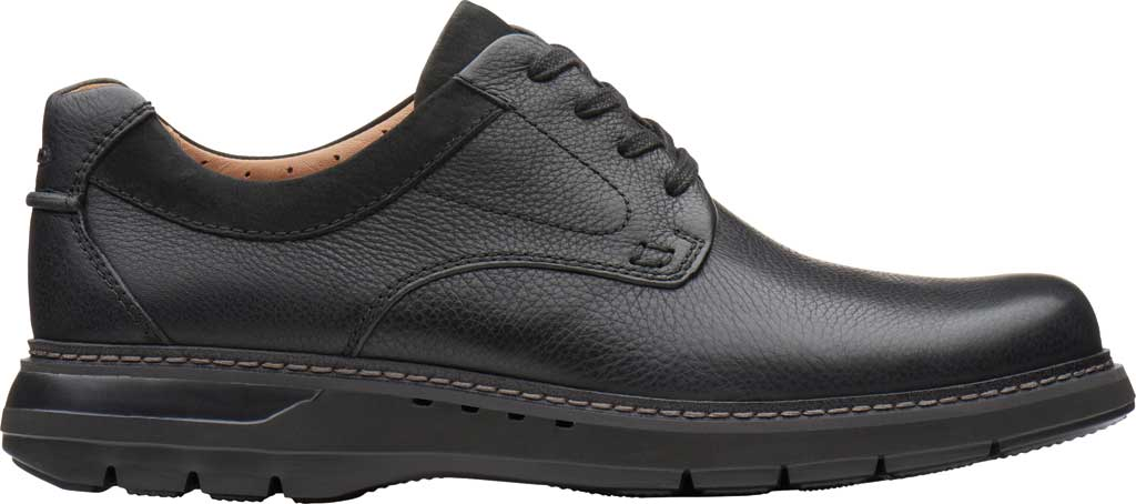 Men's Clarks Un Ramble Lo Oxford, Black Tumbled Leather, large, image 2
