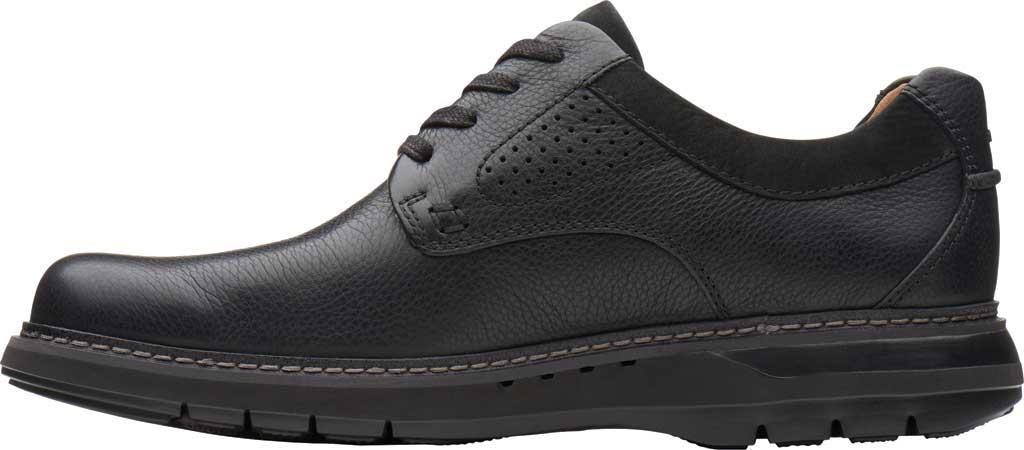Men's Clarks Un Ramble Lo Oxford, Black Tumbled Leather, large, image 3