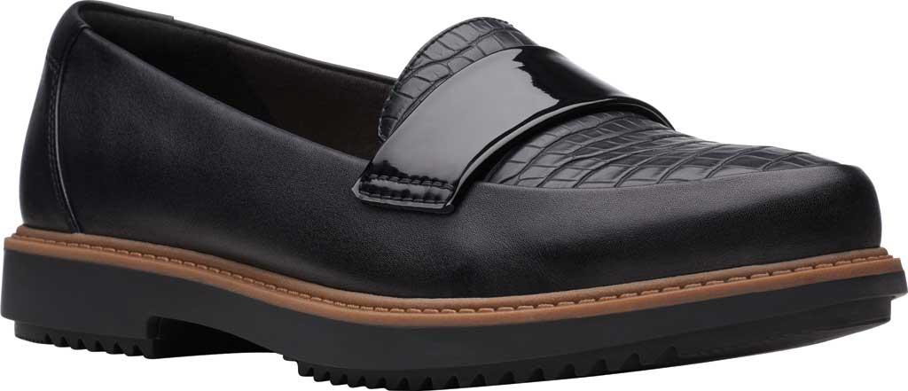 Women's Clarks Raisie Arlie Loafer, Black Croc/Leather Combination, large, image 1
