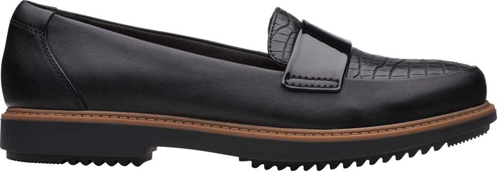 Women's Clarks Raisie Arlie Loafer, Black Croc/Leather Combination, large, image 2