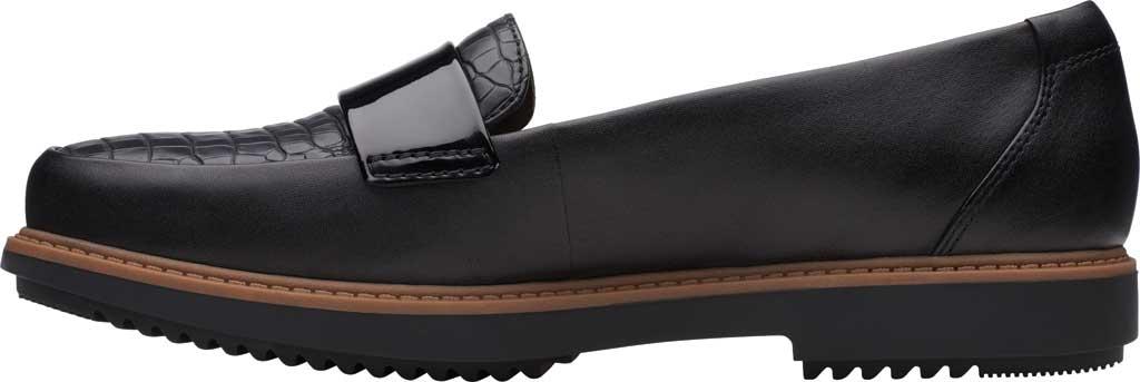 Women's Clarks Raisie Arlie Loafer, Black Croc/Leather Combination, large, image 3