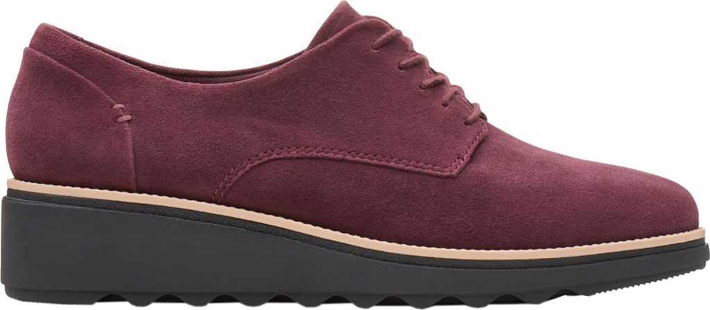 Women's Clarks Sharon Noel Sneaker, Burgundy Nubuck, large, image 2