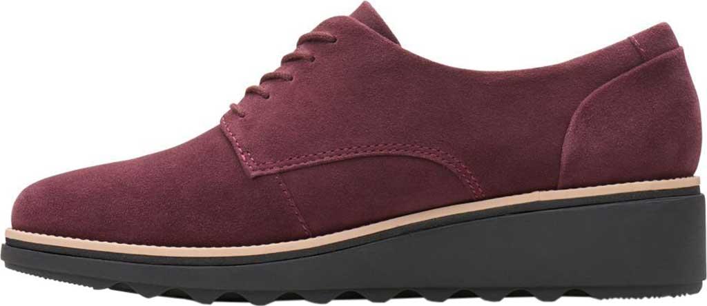 Women's Clarks Sharon Noel Sneaker, Burgundy Nubuck, large, image 3