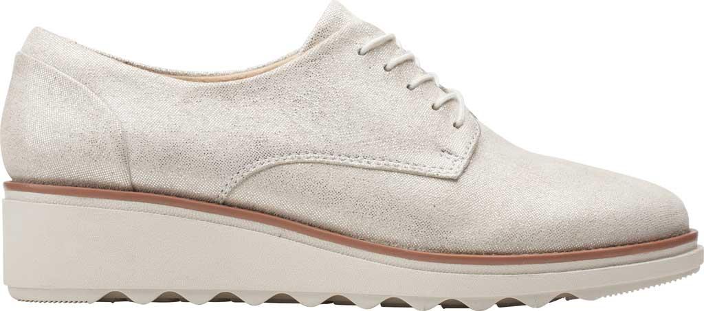 Women's Clarks Sharon Noel Sneaker, Silver Metallic Leather, large, image 2