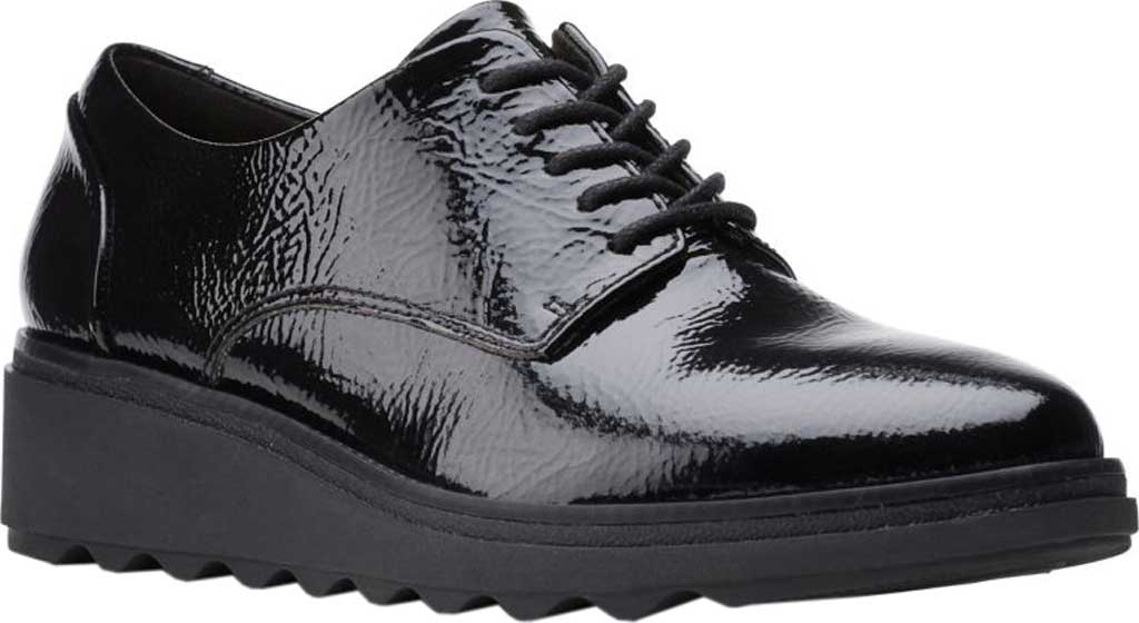 Women's Clarks Sharon Noel Sneaker, Black Synthetic Crinkle Patent, large, image 1