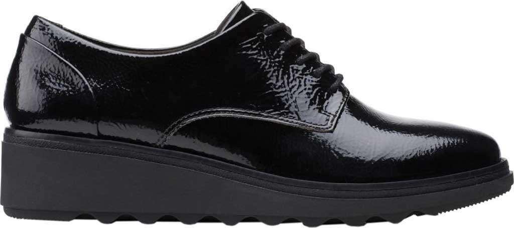 Women's Clarks Sharon Noel Sneaker, Black Synthetic Crinkle Patent, large, image 2