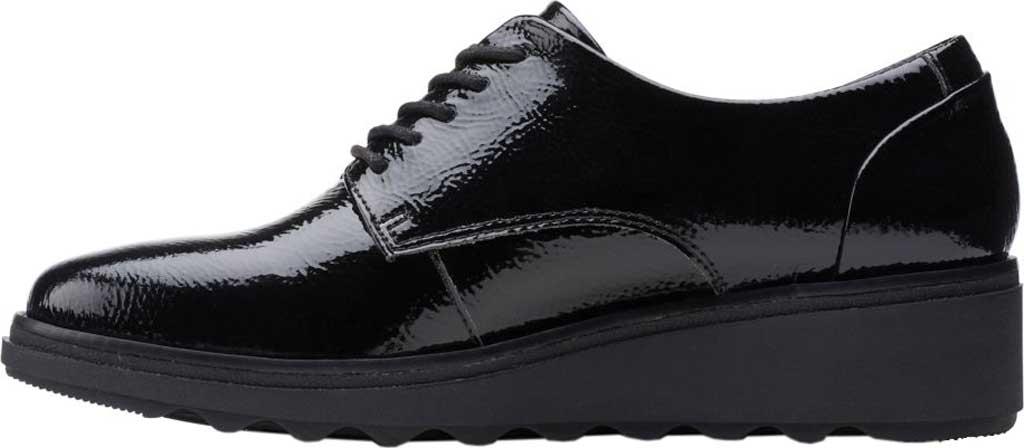 Women's Clarks Sharon Noel Sneaker, Black Synthetic Crinkle Patent, large, image 3