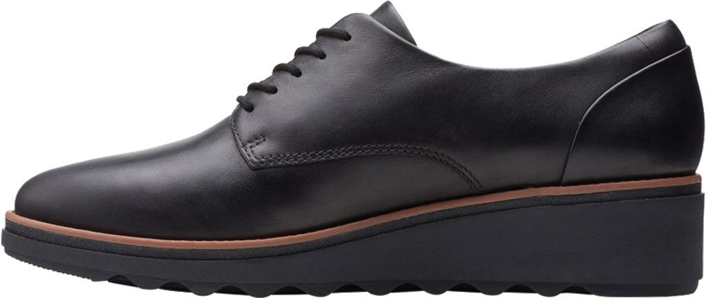 Women's Clarks Sharon Noel Sneaker, Black/Dark Tan Welt Full Grain Leather, large, image 3