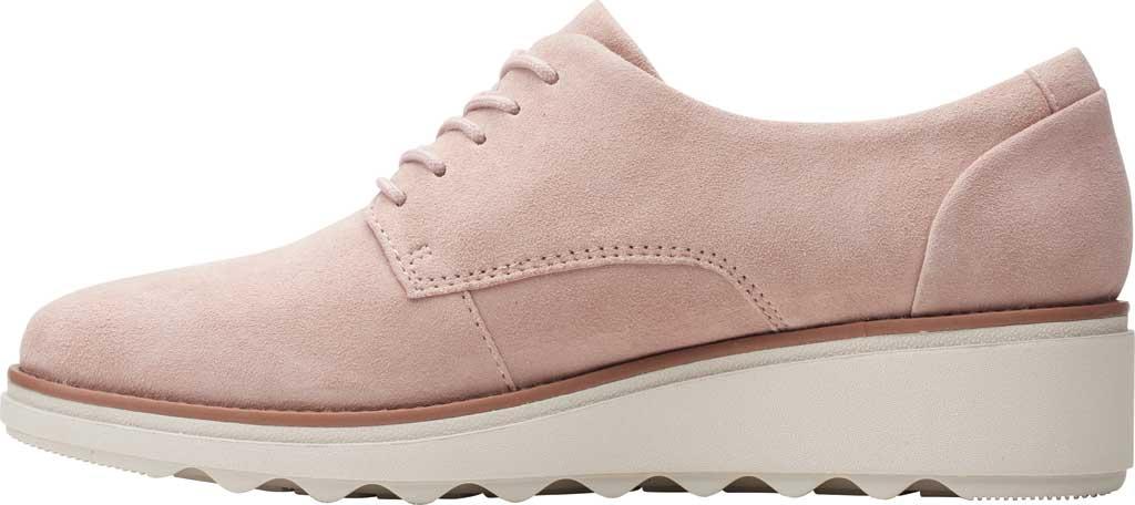 Women's Clarks Sharon Noel Sneaker, Matte Pink Suede, large, image 3
