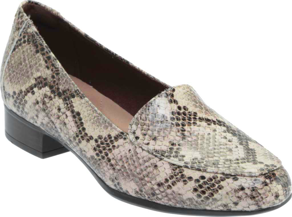 Women's Clarks Juliet Lora Loafer, Taupe Snake Synthetic, large, image 1