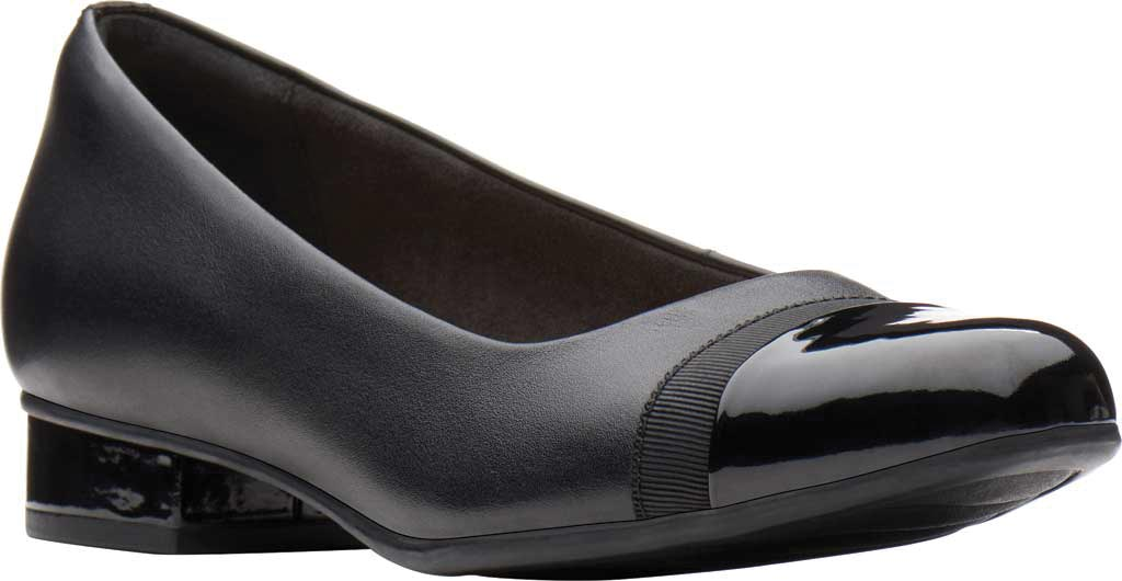 Women's Clarks Juliet Monte Slip-On, Black Leather, large, image 1