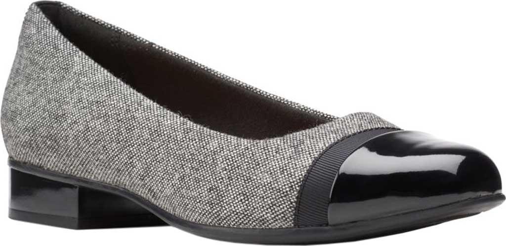 Women's Clarks Juliet Monte Slip-On, Black Tweed Textile, large, image 1