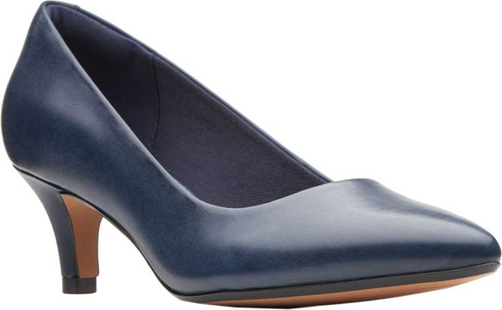 Women's Clarks Linvale Jerica Pump, Navy Full Grain Leather, large, image 1