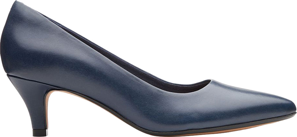 Women's Clarks Linvale Jerica Pump, Navy Full Grain Leather, large, image 2
