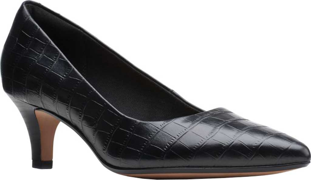 Women's Clarks Linvale Jerica Pump, Black Croco Print Leather, large, image 1