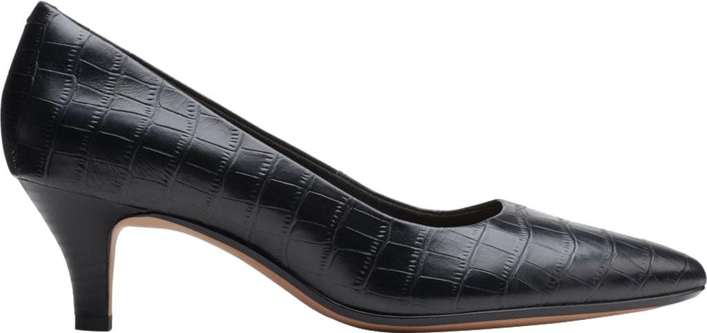 Women's Clarks Linvale Jerica Pump, Black Croco Print Leather, large, image 2