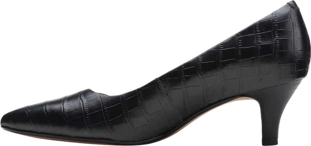 Women's Clarks Linvale Jerica Pump, Black Croco Print Leather, large, image 3