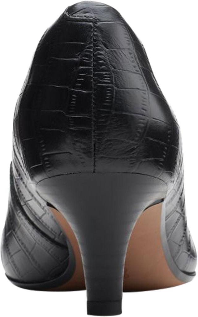 Women's Clarks Linvale Jerica Pump, Black Croco Print Leather, large, image 4