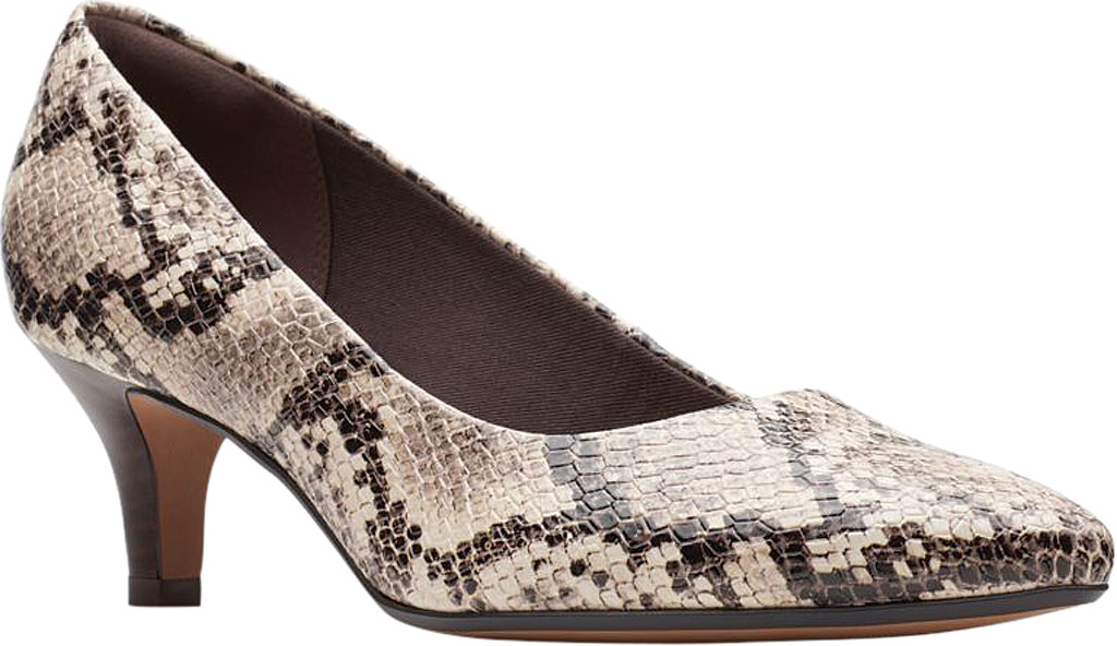 Women's Clarks Linvale Jerica Pump, Taupe Snake Textile, large, image 1