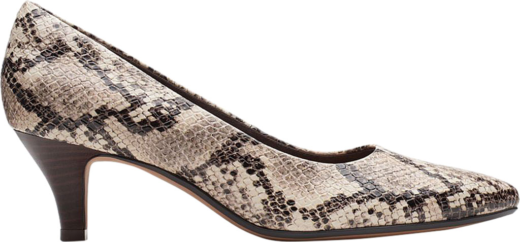 Women's Clarks Linvale Jerica Pump, Taupe Snake Textile, large, image 2