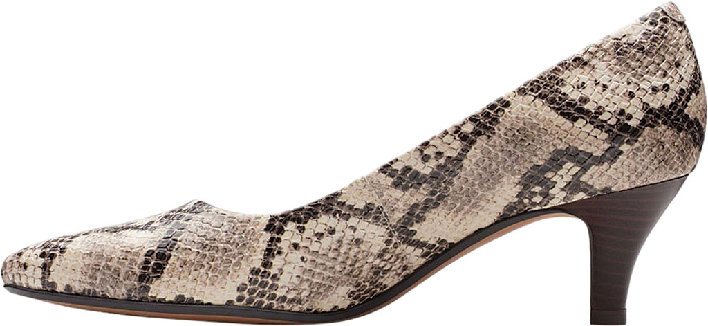Women's Clarks Linvale Jerica Pump, Taupe Snake Textile, large, image 3